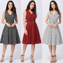 K2333A Women Stretchable Cotton Satin Poppy Print Lady Elegant Vintage Dress Made In China