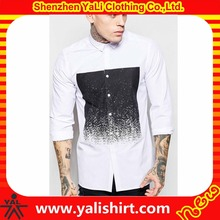 New design best quality cotton/polyester long sleeve printed slim fit white gents fashion shirts