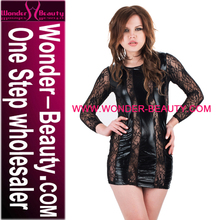 New Arrival Women Nightwear Sheer Lace Design Vinyl Dress Long Sleeve Sexy Black Night Dress