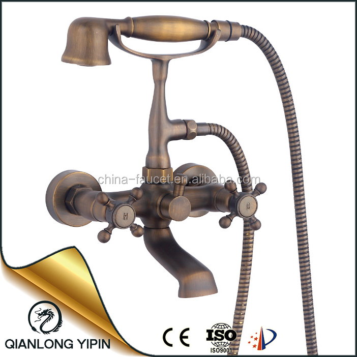 Artistic brass shower faucets floor stands dual cross handle antique phone shower set