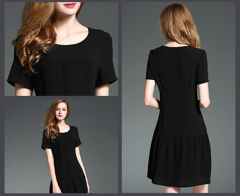 2017 summer new design plug size round neck short sleeve casual dress China manufacturer