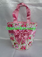 cosmetic cotton printing and quitting hand bag pink roses A053-C0002