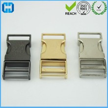 Flat Gold Color Military Metal Side Release Buckles For Pet Dog Collar