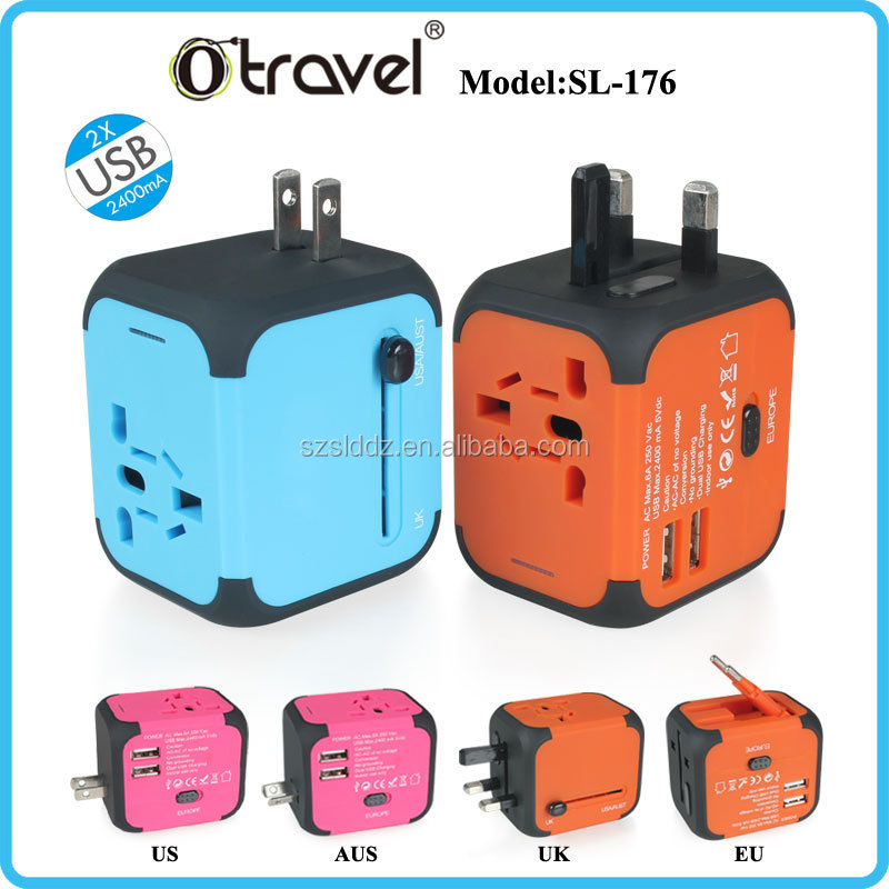 Custom Made Color Travel Agency Corporate Gift Universal Travel Electric Adapter With Usb Port