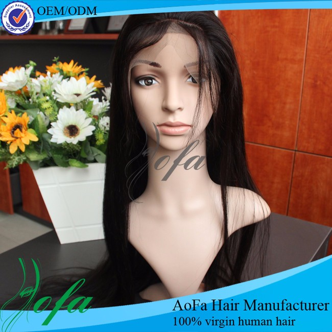 Hand made natural girls hair wig body wave #1b color indian human virgin hair full lace wig