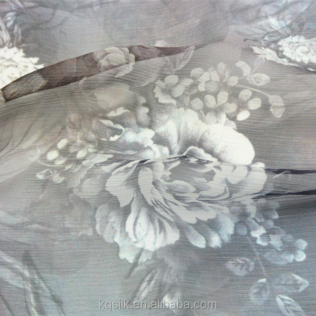 2016 Digital print 100% pure silk crinkle georgette fabric crepe chiffon with flower design