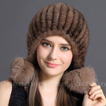 CX-C-131A Women Mink Fur Funny Knitted Russian Style Winter Hat