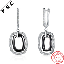 High Quality Cheap 925 Silver Black Ceramic Big Square Hoop Earrings