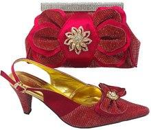 CSB1014-red sex ladies crystal high heel shoes with matching enenving bag,crystal shoes