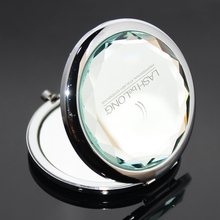 Fashion Mini Compact Mirror Portable Lady Cosmetic Bling Crystal Metal Custom Laser Logo Pocket Folding Mirror