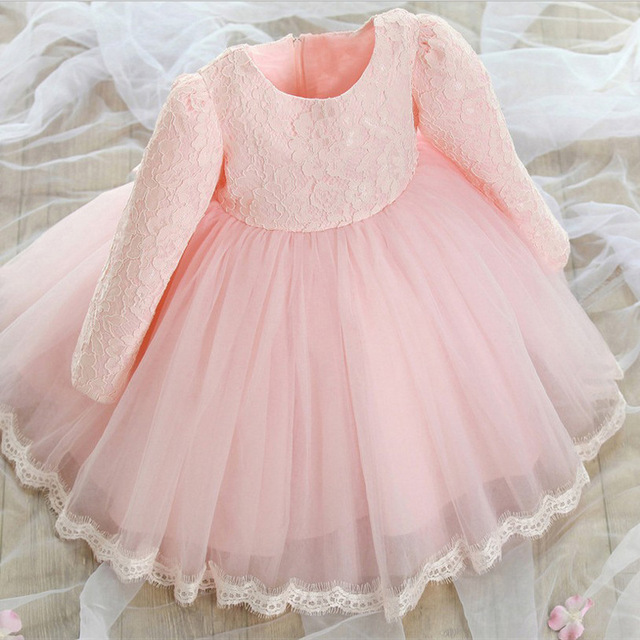 69dbd5e4 Autumn Baby Girl Dress Long Sleeve Pink White Infant Dress For Baptism  Christening First Birthday Party