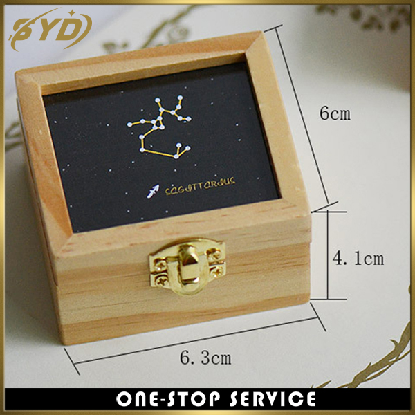 Creative design 12 constellations printing wind up wooden music box