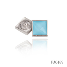 Fashion Silver Metal Square Blue Crystal Button, Wholesale Snap Garment Button