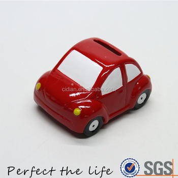 High Quality Creative Cartoon Red Car Shaped Ceramic Money Box Piggy Bank for Kids
