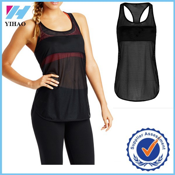 Trade assurance Yihao Shark Activewear sports Women's clothing scoop neck mesh gym tank tops
