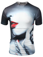 sublimation print t-shirt, 100% polyester fitness t-shirt