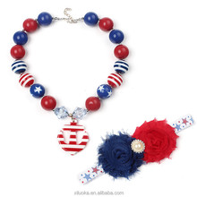 Bulk wholesale 4th of july necklace gumball necklace beads red white blue Patriotic chunky necklace for toddler