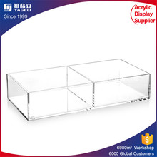 Clear plastic display containers for cosmetic makeup accessories acrylic storage boxes bins display case with 2 3 4 dividers