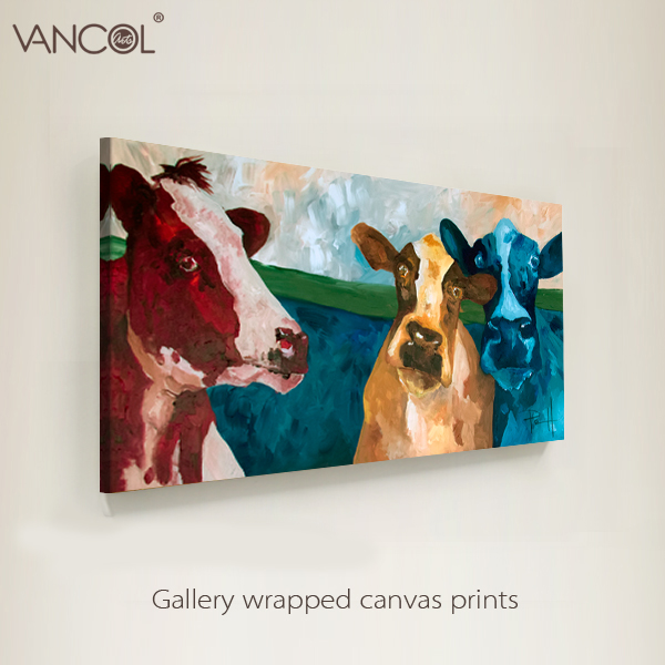 Hot design modern animal cow painting on canvas decorative for home decore