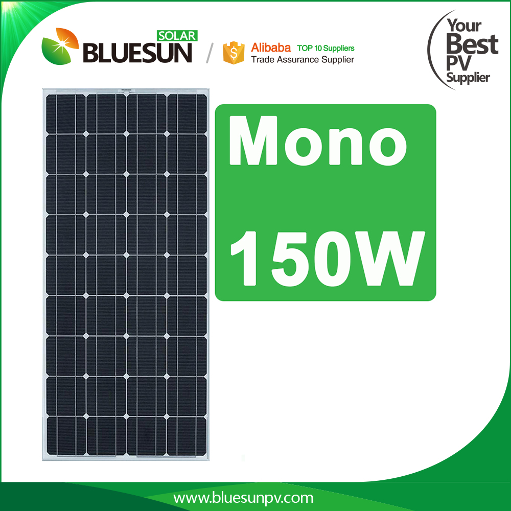 Bluesun Monocrystalline 24v 150w solar panel from china manufacturer