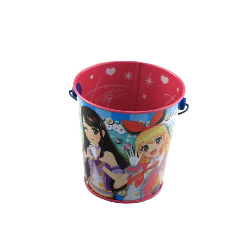 Christmas metal crafts tin pails with handle for for Christmas tin pails