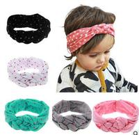 New vintage hair styles baby headband dot cotton hair bows