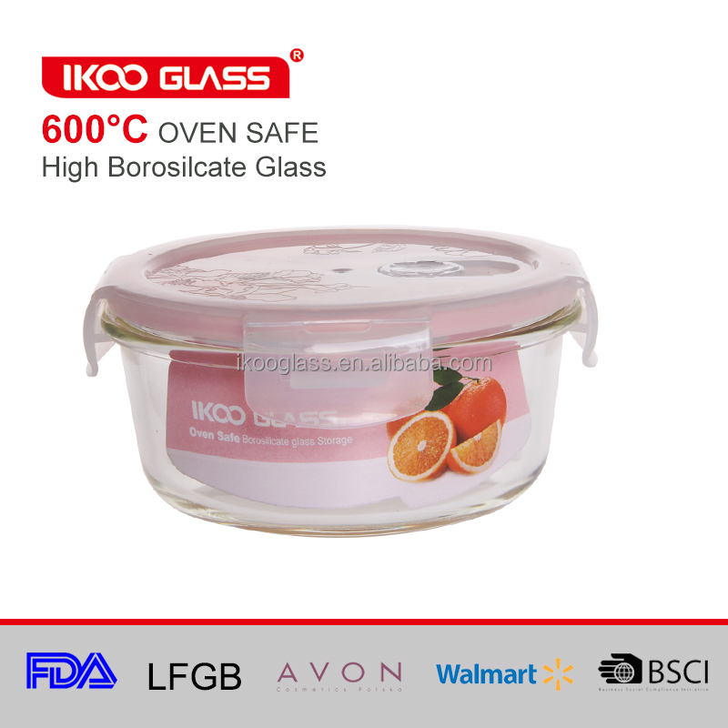glass food storage container with lids