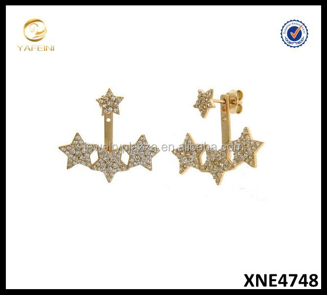 18K Goldplated Earrings Aurora Starburst Pave Front Back Ear Cuffs