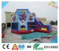 2016 spiderman inflatable bounce house ,custom Spider-man bouncy castle with slide