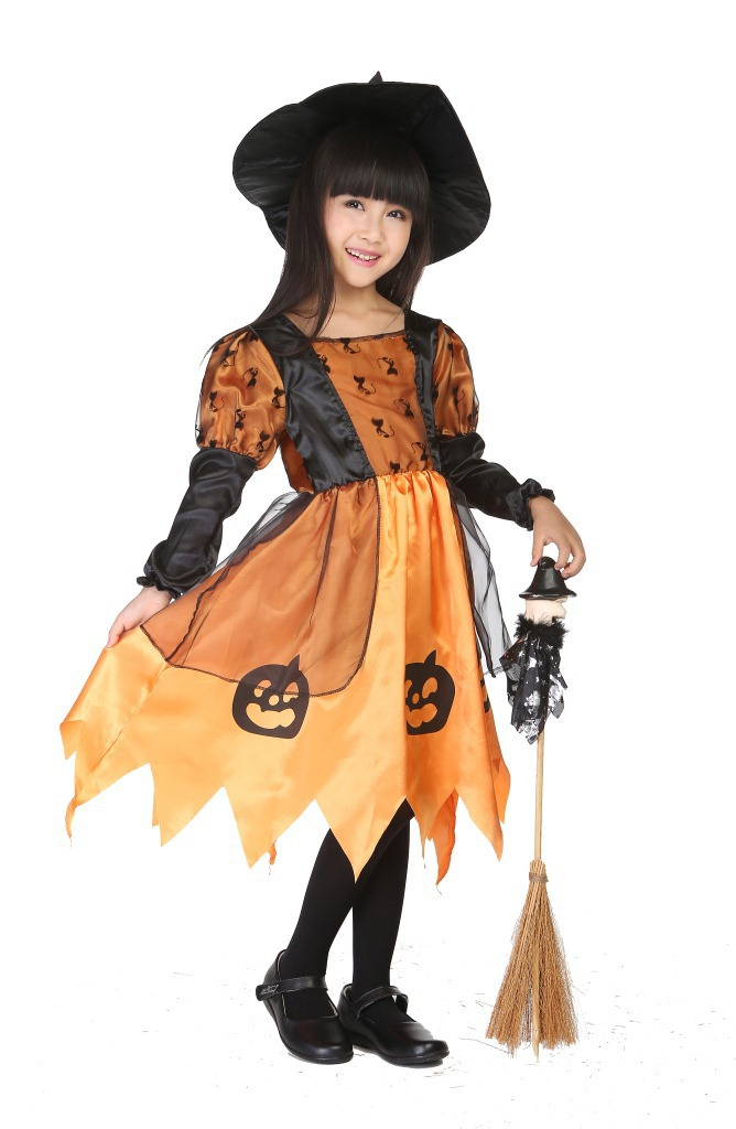 get quotations children kids girls halloween carnival party pumpkin costume with hat baby witch costumes child cosplay clothing