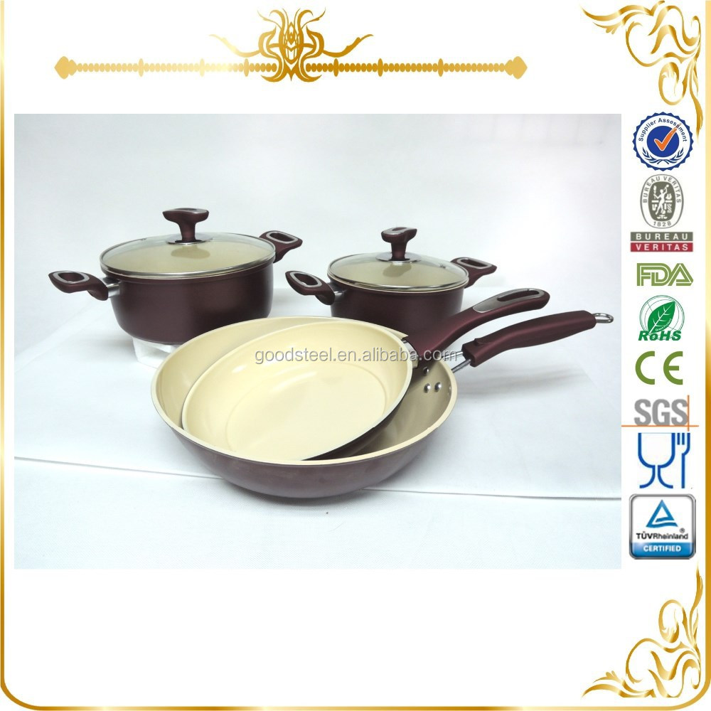 High qualtiy Wine red color carbon steel cookware set with cream color ceramic coating MSF-6434