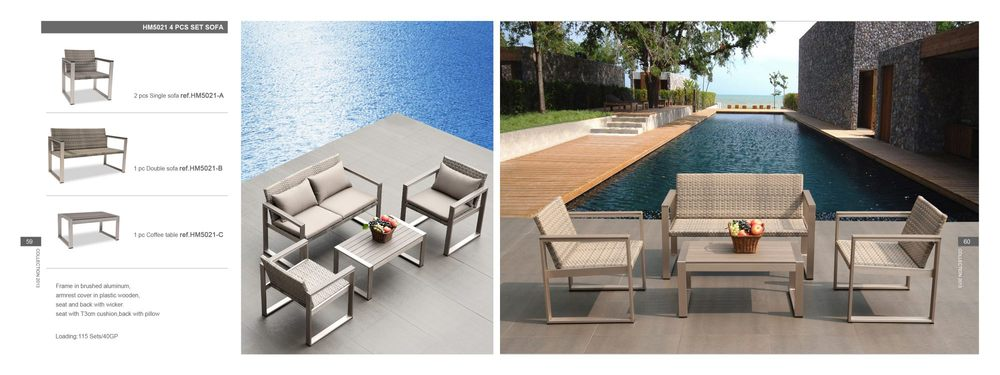 Brisbane Pe Rattan Material Composite Wooden Outdoor Sofa Set For Garden Sofa