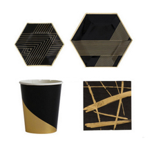 Birthday Party Supply Black Gold Stamping Party Plates Cups Napkins Dinnerware Set