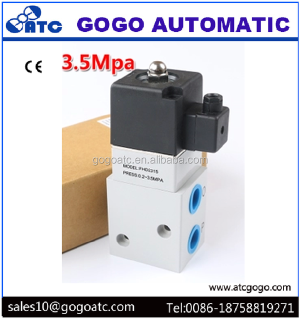 High pressure 3 way gas valve Air Solenoid operated compressed