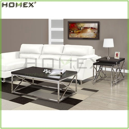 Hollow-Core Chrome Metal Cocktail Table/Wood Coffee Table/Homex_FSC/BSCI Factory