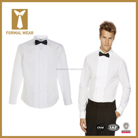 2015 Fashion design 100% cotton white pleated front with tuxedo collar tailored fit party wear shirts for men