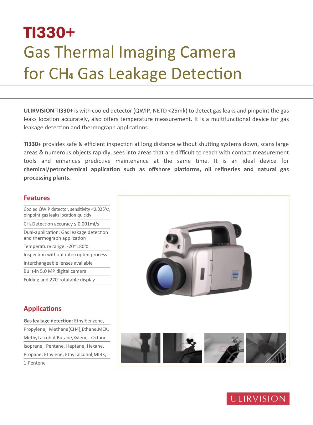 Gas Infrared Camera TI330+ for CH4 Gas Leaks Detection