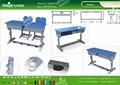 Kaiqi KQ60205B shool furniture plastic double student desk different colors and sizes available