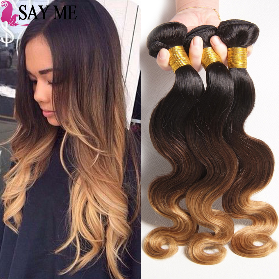 Made In India Wholesale Ombre Colored Three Tone 1b 4 27 Wet And Wavy Indian Body Wave Human Hair Weave