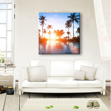 Coconut tree near water simple fabric artwork painting designs with sunshine