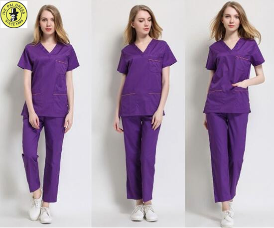 Custom v neck unisex cotton twill scrub top nurse uniform hospital