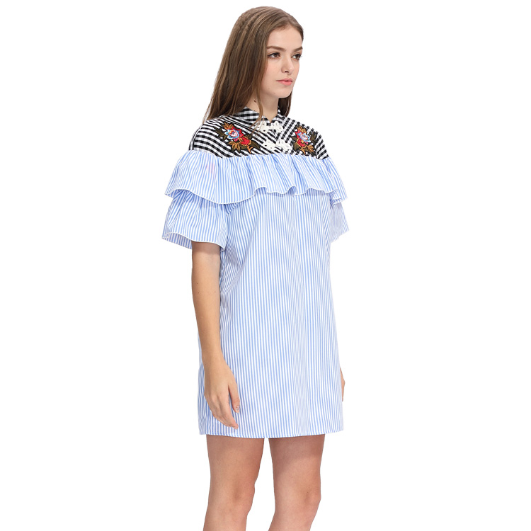 Women Short Bell Sleeve Ruffled Cutwork Machine Embroidery Dresses Custom Ladies Stripe Print Design Hand Embroidery Dress Loose