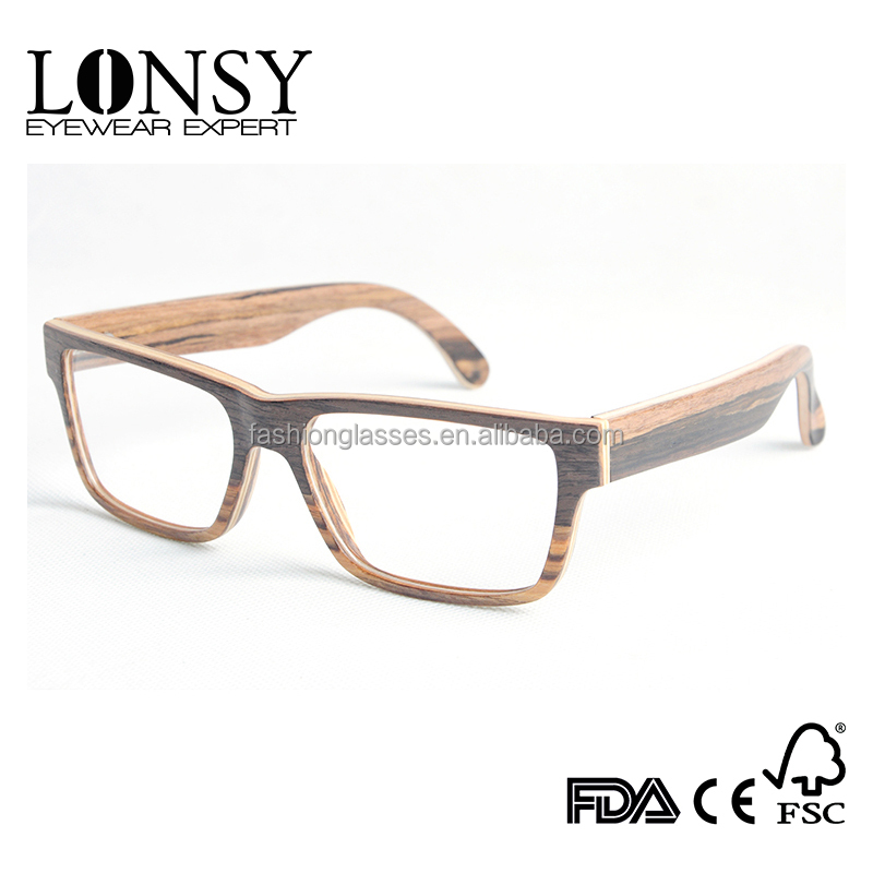 2 color wood venner optical glasses frame,cam open and change the lens (LS2907-C1)