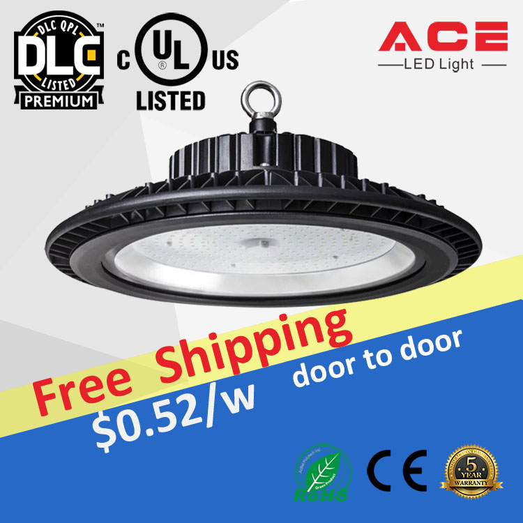 UL DLC CE Listed Dali motion sensor 1-10v dimmable 100W-500W UFO high bay led lighting industry