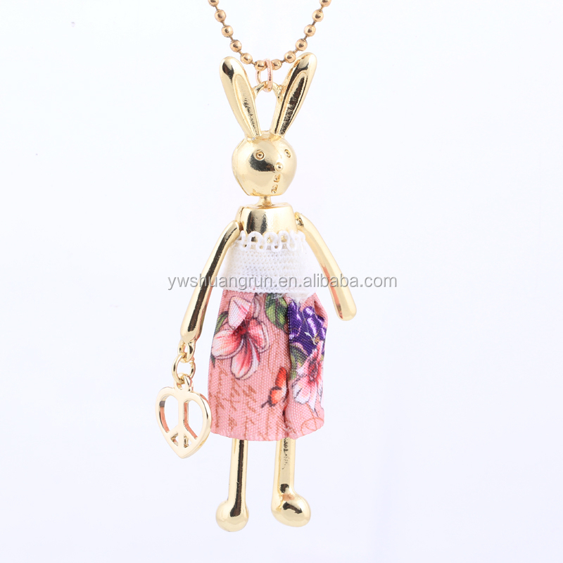 Animal Rabbit Charm Necklaces,Whimsical Bunny Dressed Jewelry Necklaces For Gift