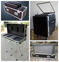 16 u aluminum tool box 3 doors flight case with mixer