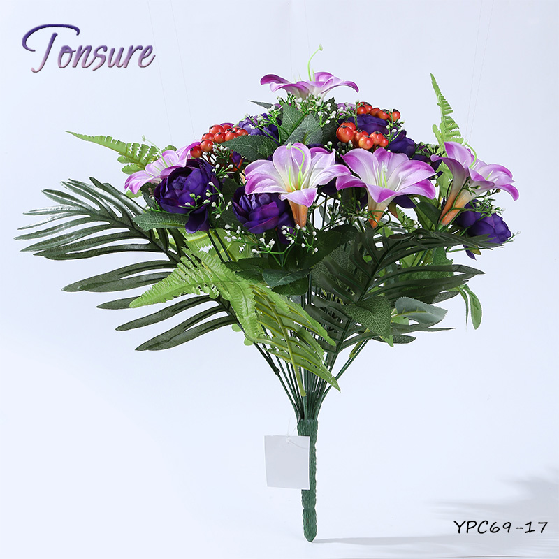 24 flower heads purple color rose lily bush artificial flowers for funeral
