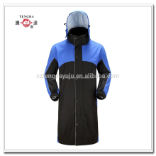 oem polyester heavy duty long raincoat with mesh lining