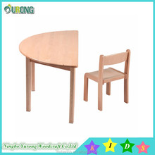 Nice quality nursery school furniture,beech wood children study table,.semicircle table and chair for sale