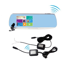 Easy installation WIFI wireless Car DVR 1080P rear view mirror,DVR dual camera car dvr for bus, taxi, truck